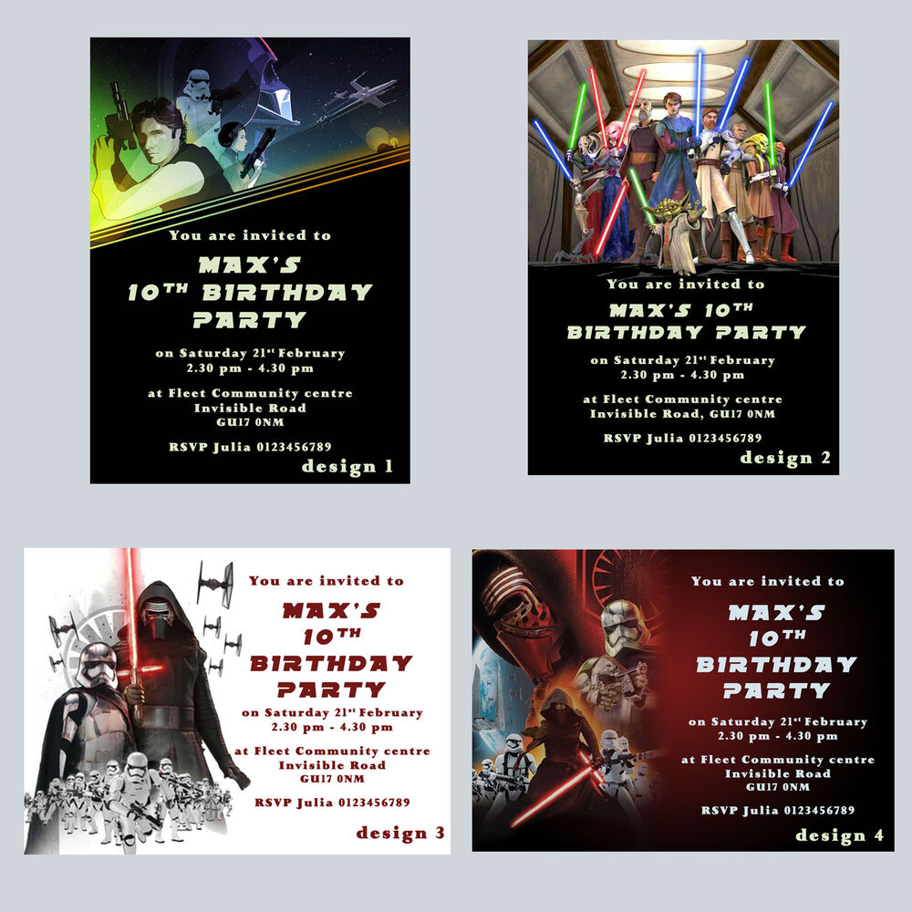 Details About Star Wars Party Invitations Personalised