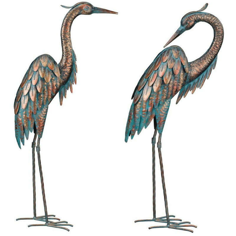 Copper patina heron garden stake 3d yard art bird for Wire yard art