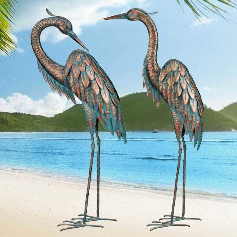 Copper patina crane garden stake metal yard art lawn bird for Wire yard art