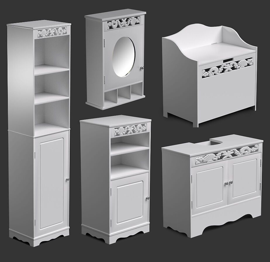 White Bathroom Furniture Range Tall Cabinet Wall Mirror Floor Cupboard St Tropez