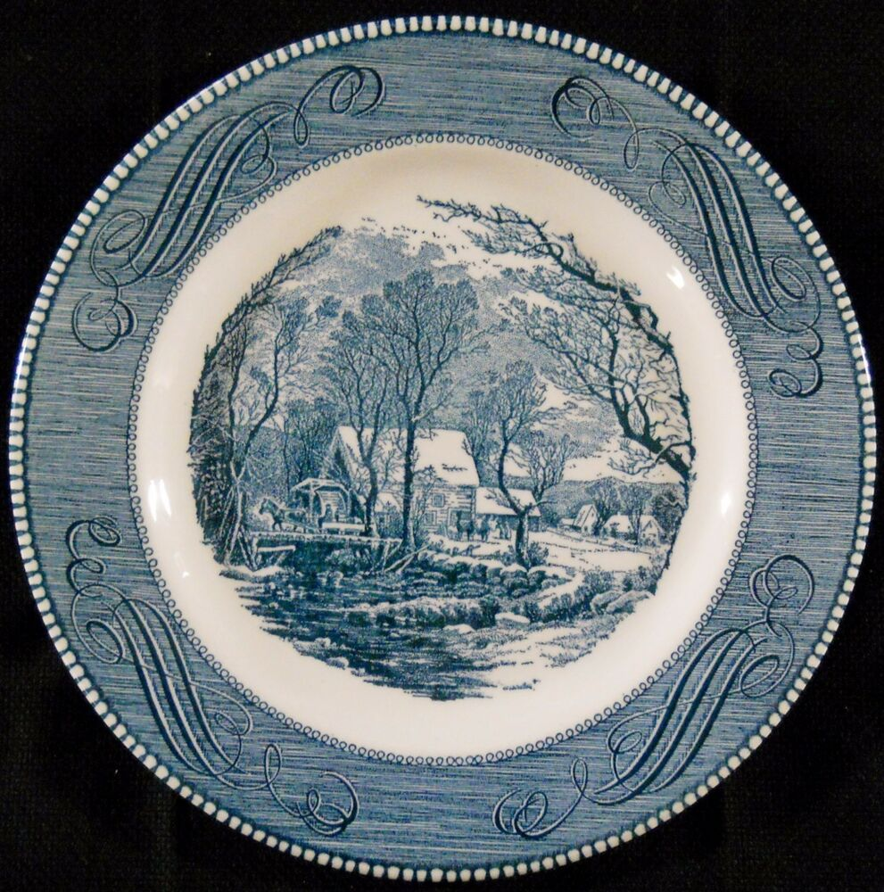 Currier and ives the old grist mill blue white plate 10 for The ives