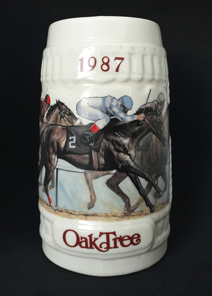 Oak Tree Santa Anita Park Horse Racing Beer Mug Stein 1987