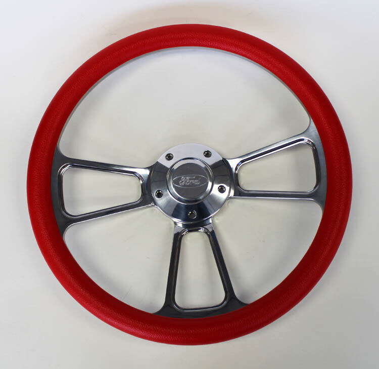 Steering Wheel Red And Billet Fits Ididit Column 14 Quot Ford