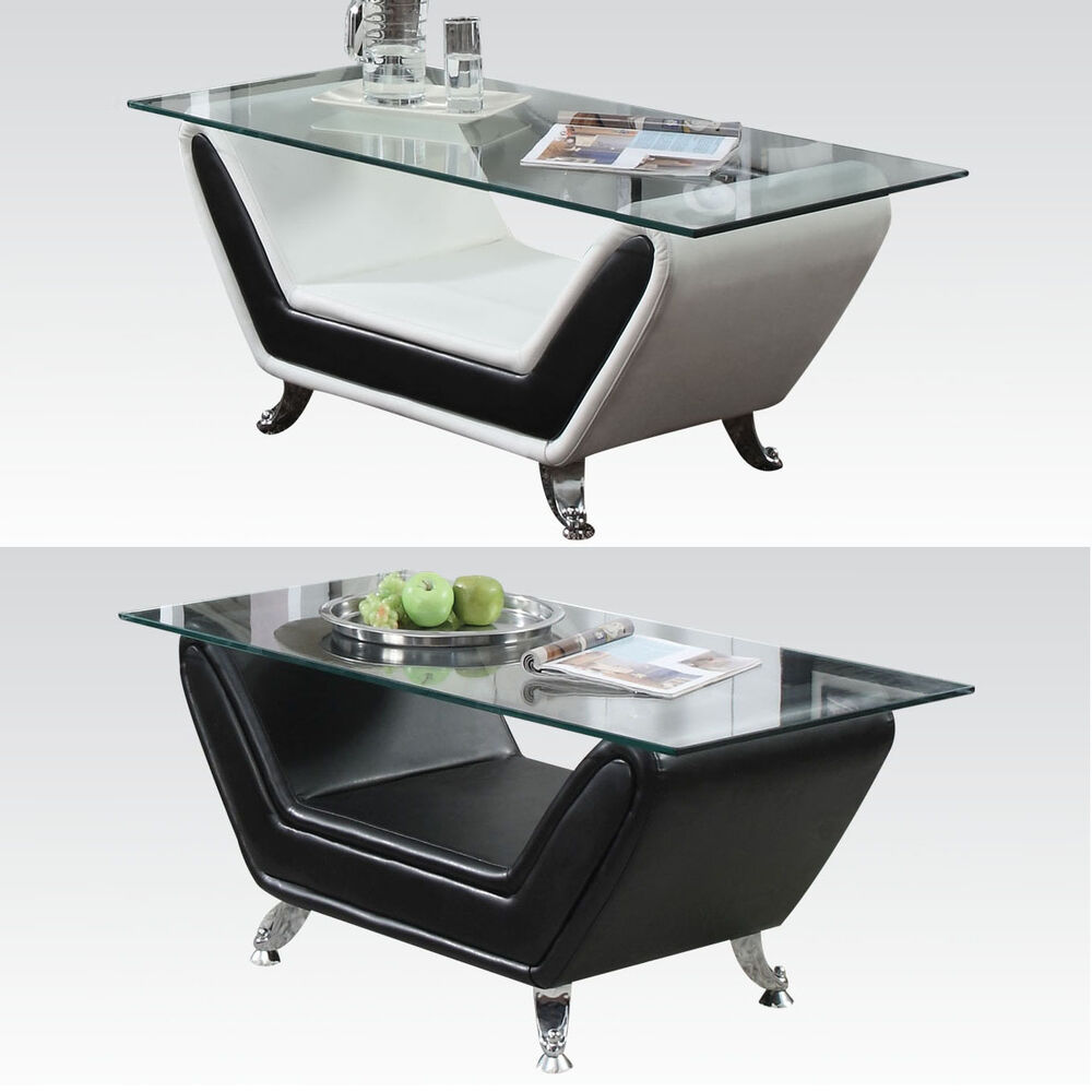 Black white rectangular tempered clear glass top metal for Black and white glass coffee table