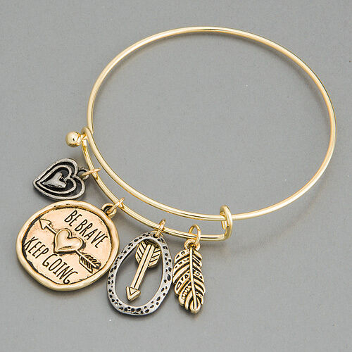 keep going bracelet gold silver arrow feather be brave keep going charm 2888