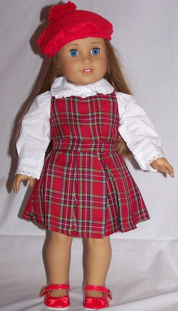 doll clothes ag 18 molly plaid jumper red blouse made for american girl dolls ebay. Black Bedroom Furniture Sets. Home Design Ideas