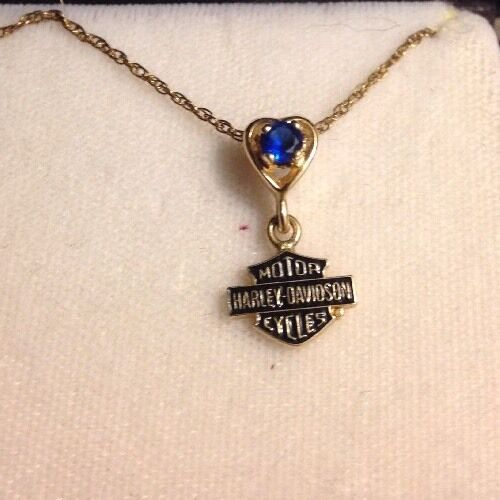 Harley davidson stamper 10k blue december birthstone for Harley davidson jewelry ebay