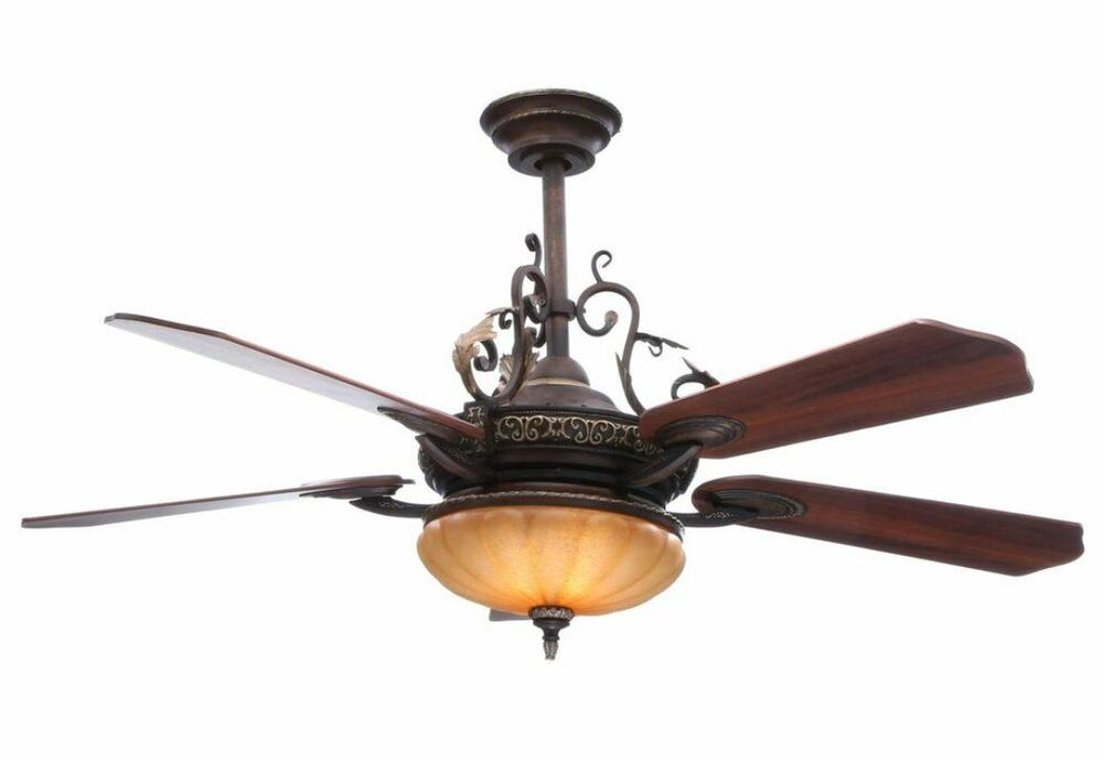 "Hampton Bay Chateau De Ville Walnut 52"" Ceiling Fan With"