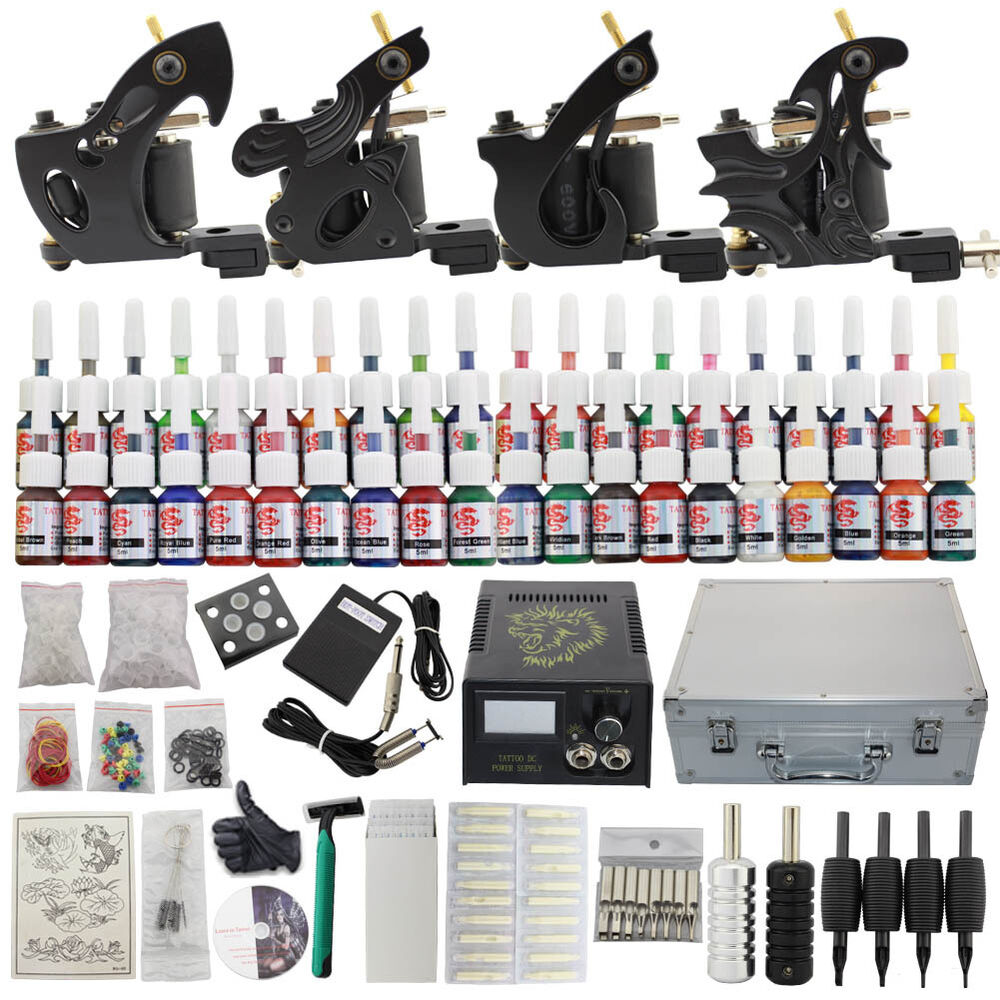 Tattoo complete kit set 4 tattoo machine tips 40 inks for Tattoo supplies ebay