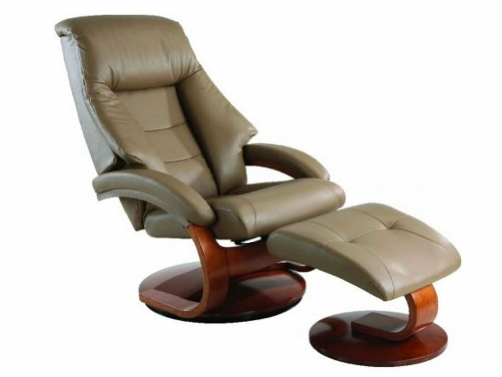 Oslo collection swivel recliner chair ottoman sand leather for Swivel club chair leather