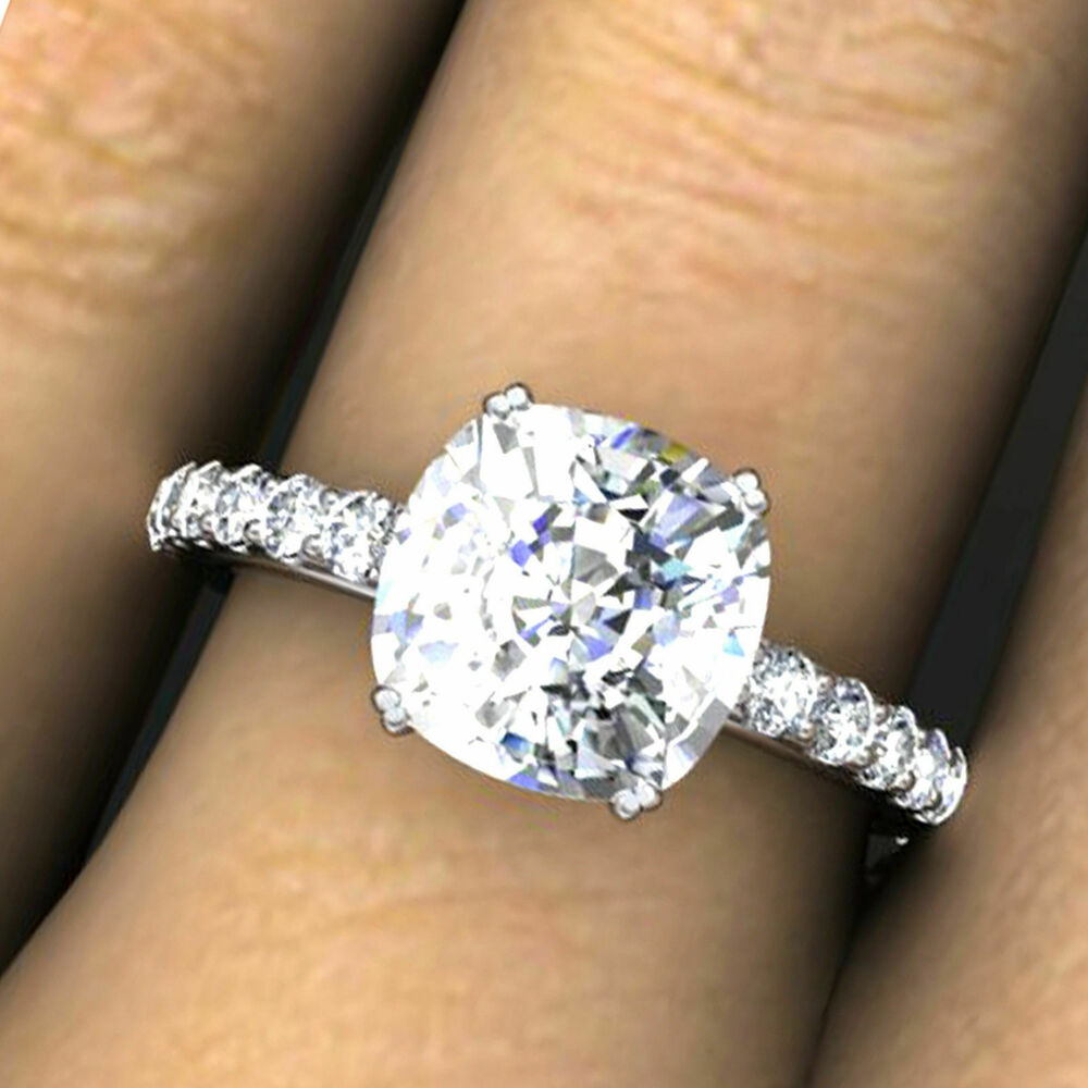 3 0 ct cushion cut diamond engagement ring solid 14k white. Black Bedroom Furniture Sets. Home Design Ideas