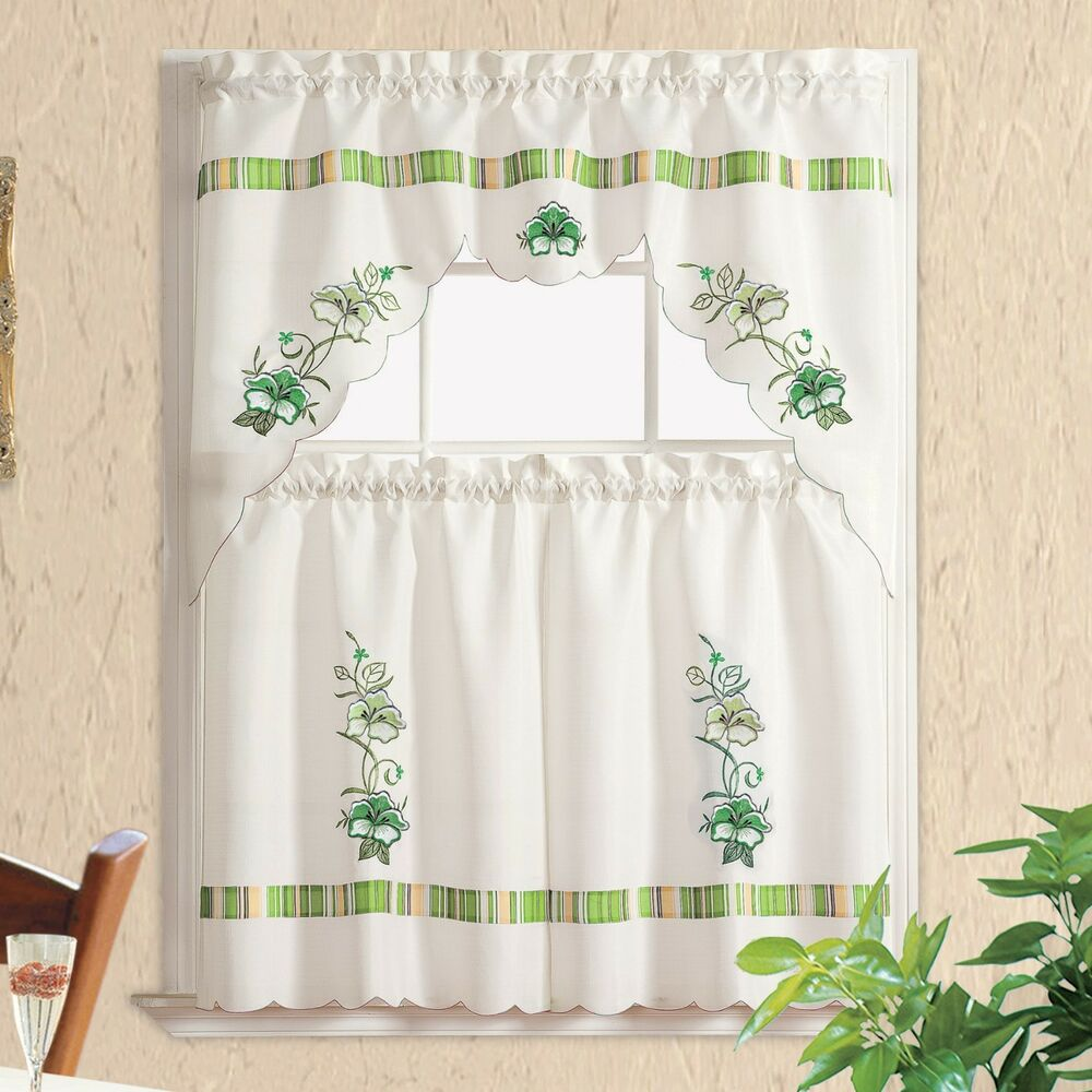 Pansy Stripe Nice Embroidery 3pcs Kitchen Curtain Cafe Curtain Set Sage Green Ebay