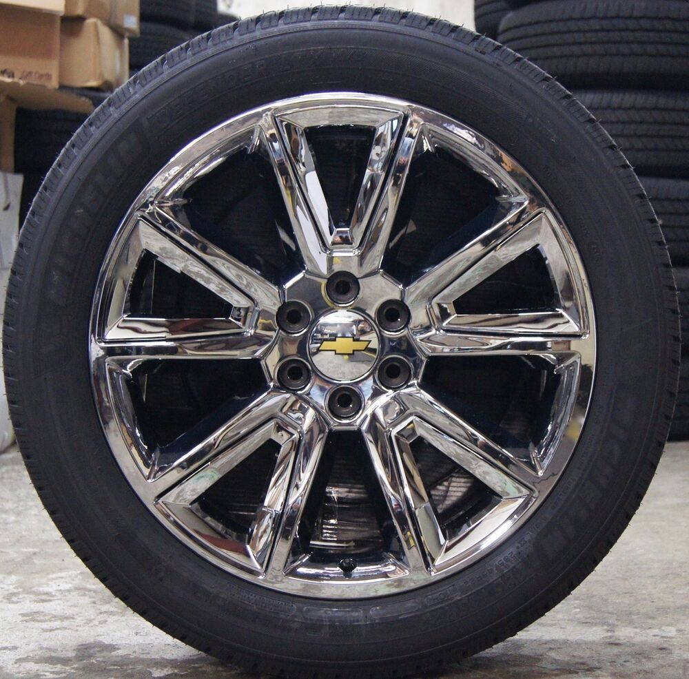 new chevy suburban tahoe chrome 22 wheels rims michelin defender ltx tires 5696 ebay. Black Bedroom Furniture Sets. Home Design Ideas
