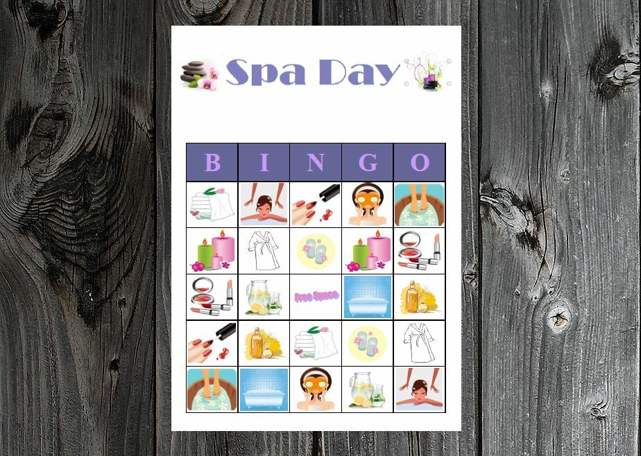Spa Day Diva Birthday Bridal Party Game Bingo On Card