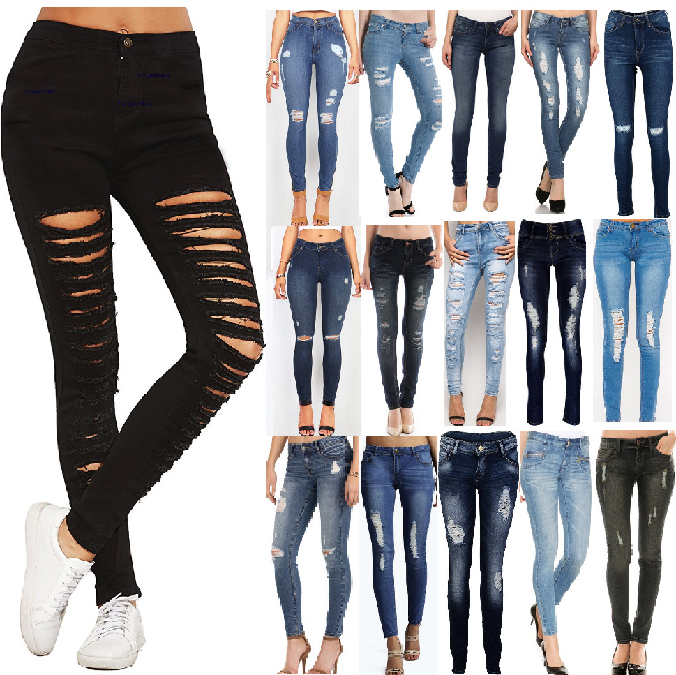 NEW WOMENS RIPPED JEANS KNEE CUT JEGGINGS SKINNY FIT STRETCHY ...