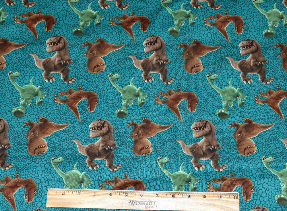 Sale good dinosaur fabric by the half yard disney pixar for Dinosaur fabric