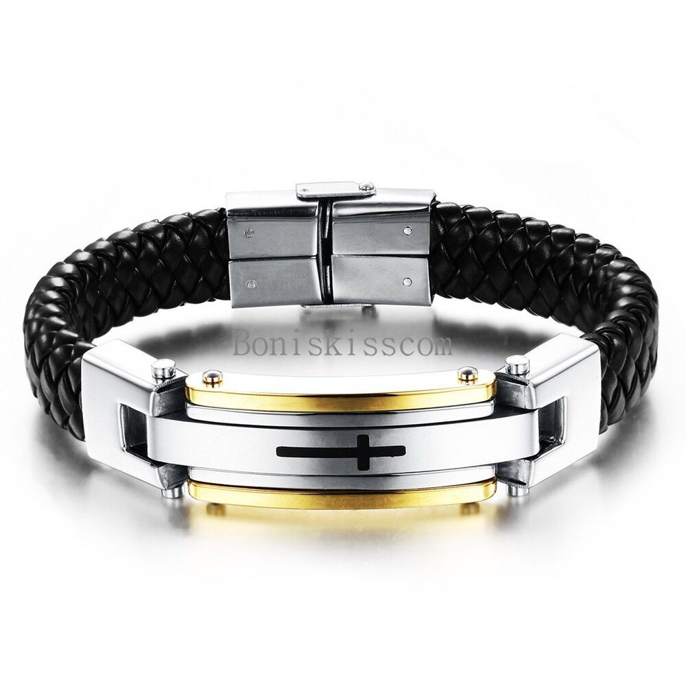 Cuff Bangle Bracelet: Men's Stainless Steel Cross Black Braided Leather Bracelet