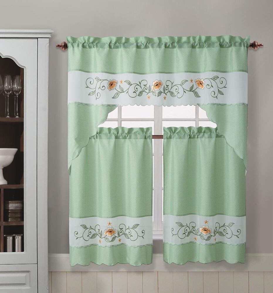 on sale saspring blossom 3pcs cafe curtain set embroidery on voile ebay. Black Bedroom Furniture Sets. Home Design Ideas