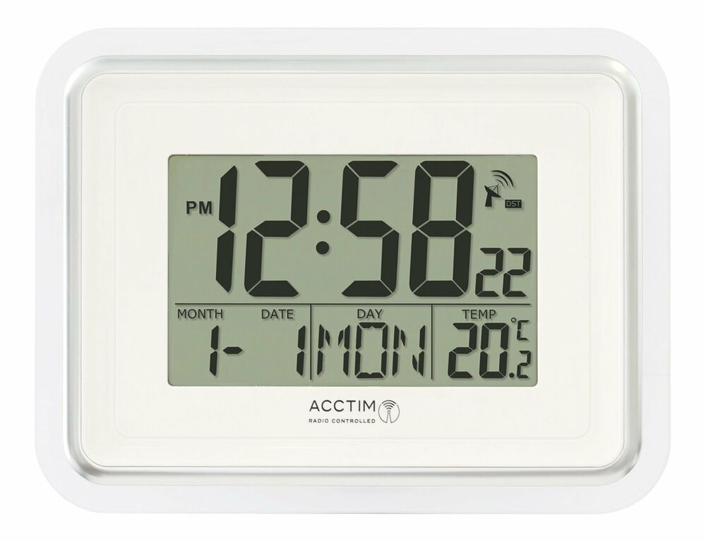 Acctim Delta Radio Controlled Wall Clock Msf Signal Digital Calendar