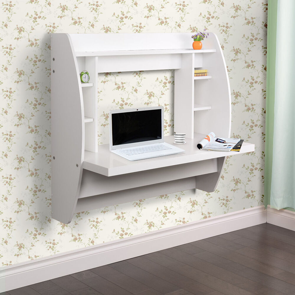 Erfect 41 Quot Wall Mounted Floating Computer Desk Storage