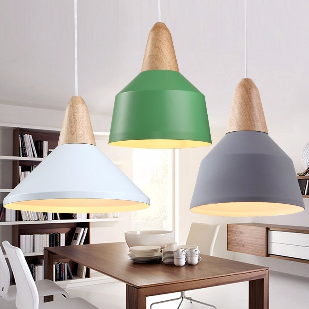 design moderne style scandinave r tro plafond pendentif lampe abat jour ebay. Black Bedroom Furniture Sets. Home Design Ideas