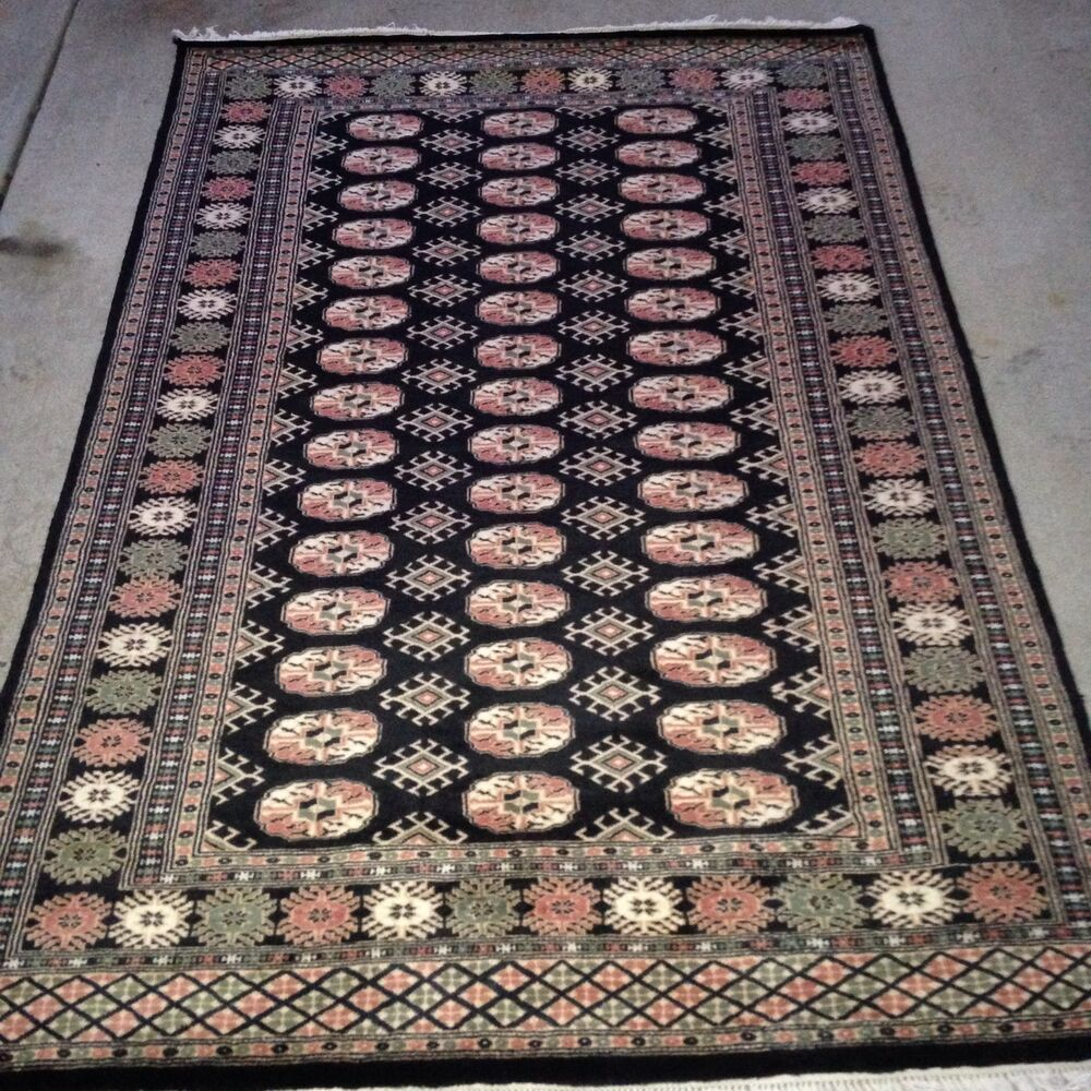 Persian Bokhara Hand Knotted Wool Area Rug: 4x6 Hand Knotted Oriental Rug Black 100% Wool Pile Bokhara
