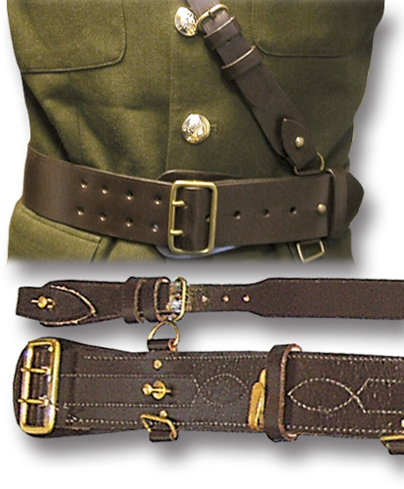 sam browne leather belt cross army