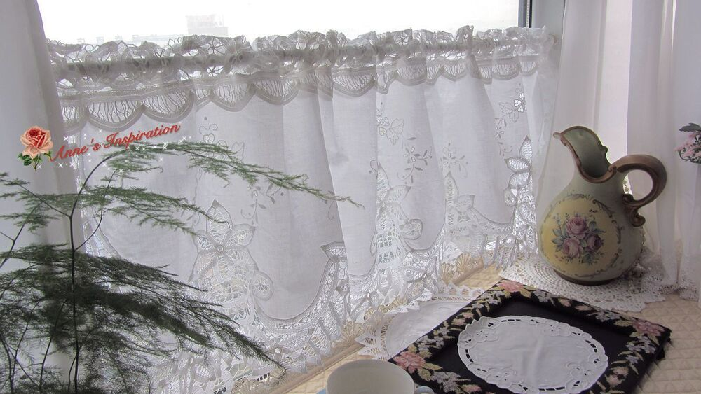 Handmade Battenburg Lace Cafe Curtain Valance White 15 Quot 50