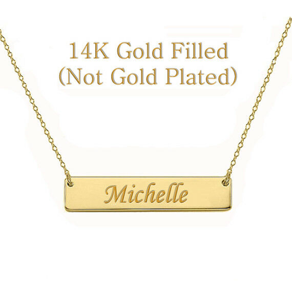 personalized monogram initial name bar necklace 14k gold filled custom engraved