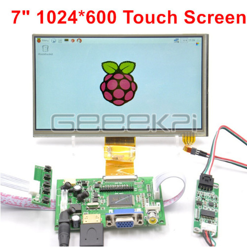 GeeekPi 7 inch 1024*600 LCD Touch Screen Display TFT for Raspberry Pi 4 B / PC