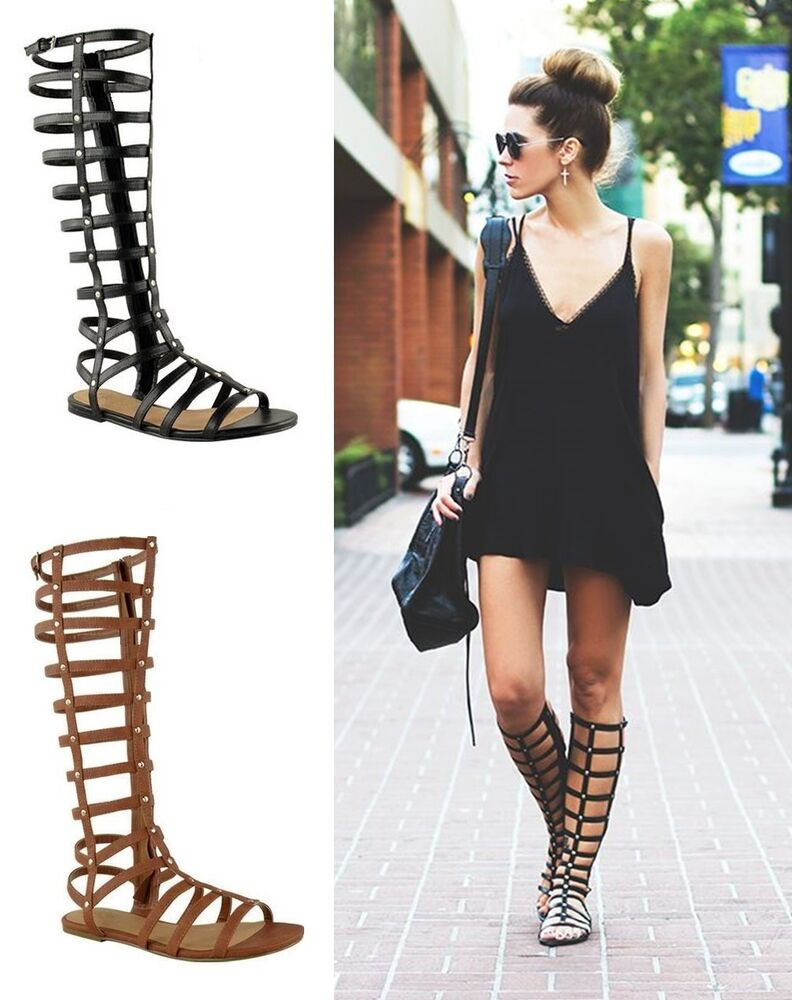 Ladies Womens Gladiator Sandals Strappy Flat Knee High Zip