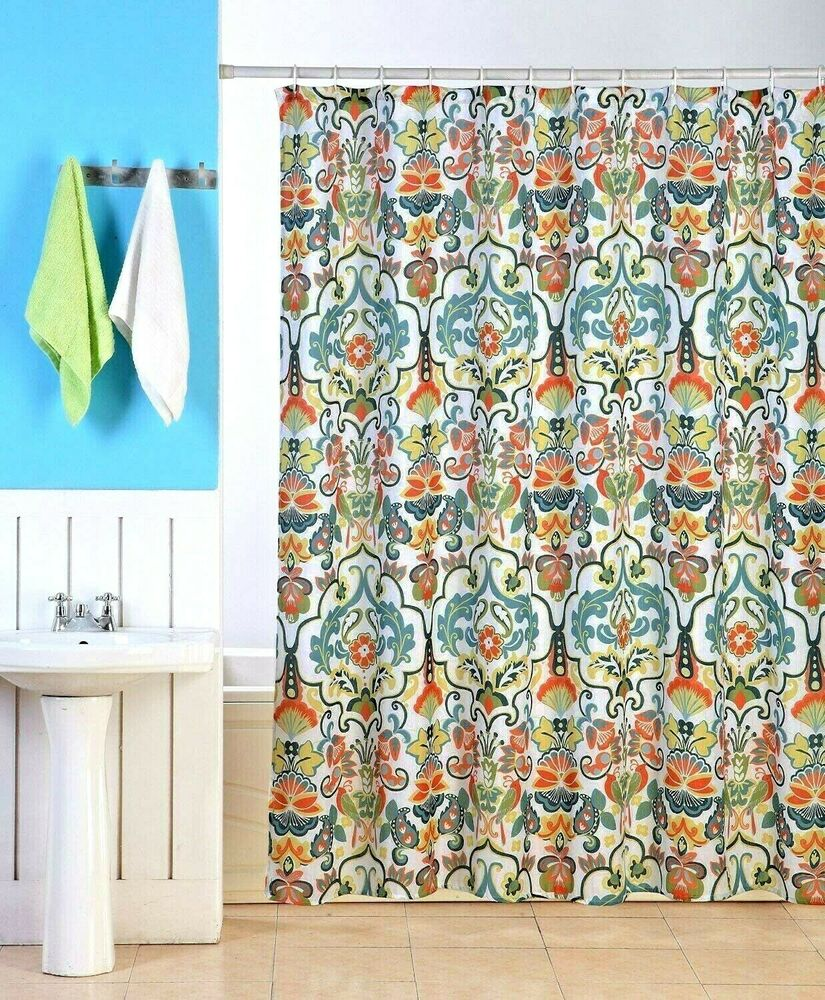 EMERY FABRIC SHOWER CURTAIN, COLORFUL DAMASK FLORAL GEOMETRIC PRINTED ...