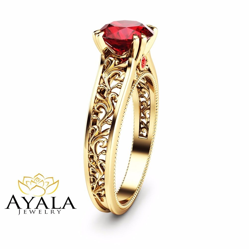 14K Yellow Gold Ruby Engagement Ring Natural Ruby Bridal ...