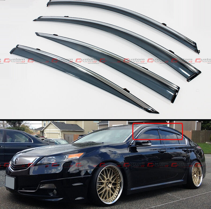 FOR 2009-2014 ACURA TL CLIP ON SMOKE TINTED SIDE WINDOW
