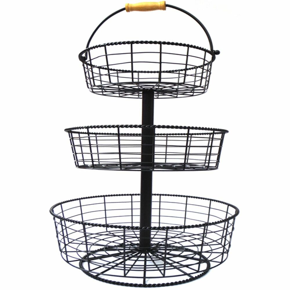 Display Basket 3 Tier Wire Basket Black Wrought Iron Brand