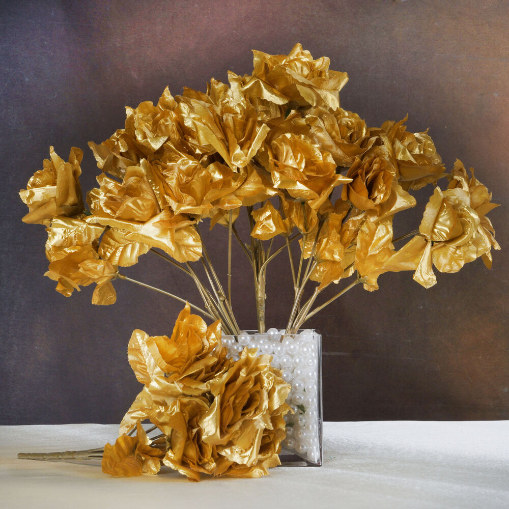 White And Gold Wedding Flowers: 84 Gold SILK OPEN ROSES Wedding Discounted Flowers