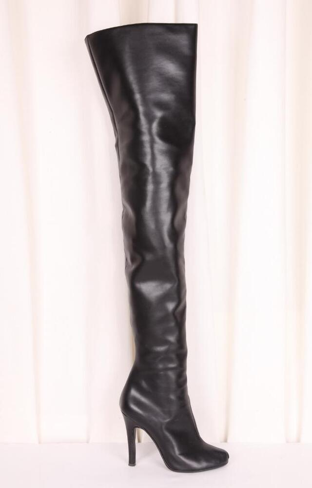 vionnet black faux leather the knee thigh high heel