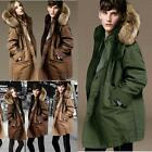 Women's Men's Couples Cotton-padded Jacket Thick Fur Collar Hooded Winter Coat