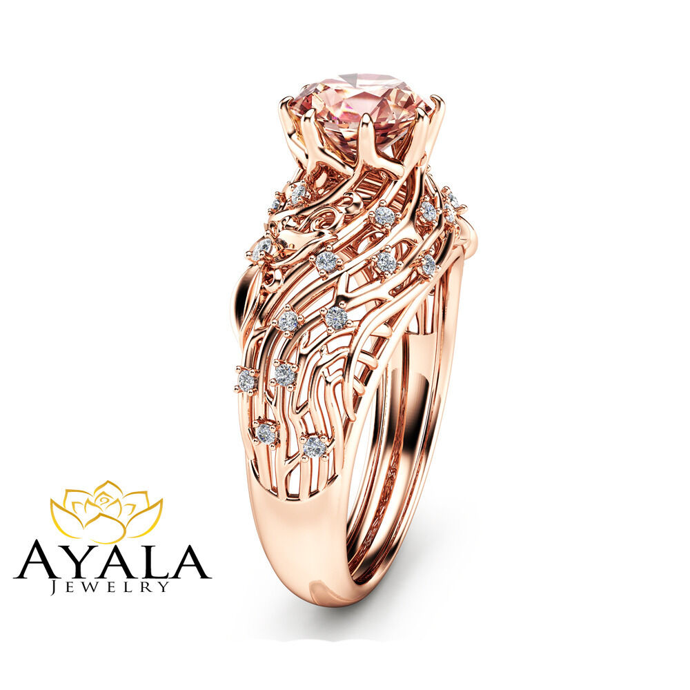 14k rose gold morganite engagement ring unique filigree ring art deco ring ebay. Black Bedroom Furniture Sets. Home Design Ideas