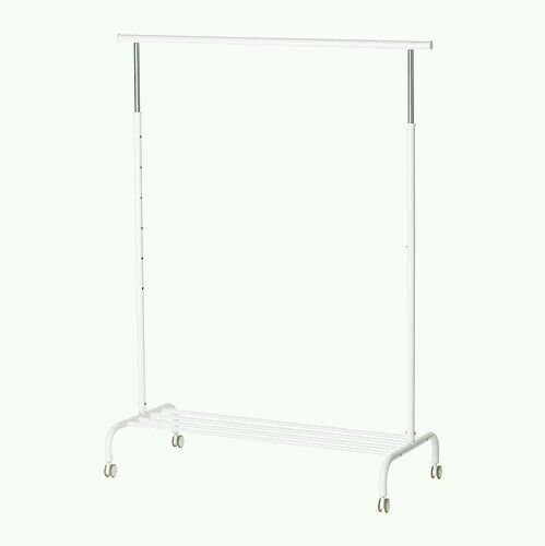 rolling clothes rack white garment adjustable portable
