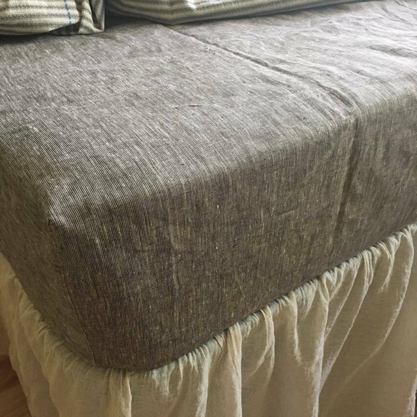 Fitted SHEET 100 % Pure Linen White USA Sizes