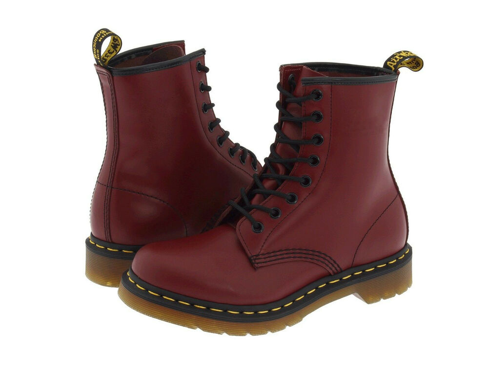 women 39 s shoes dr martens 1460 8 eye boots 11821600 cherry red smooth new ebay. Black Bedroom Furniture Sets. Home Design Ideas