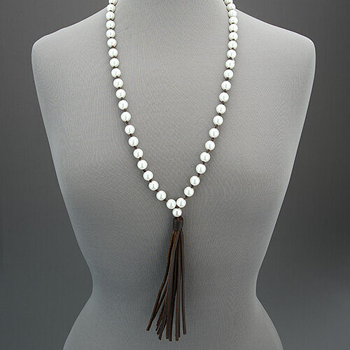 White Pearl Beaded Long Bohemian Style Brown Leather ...