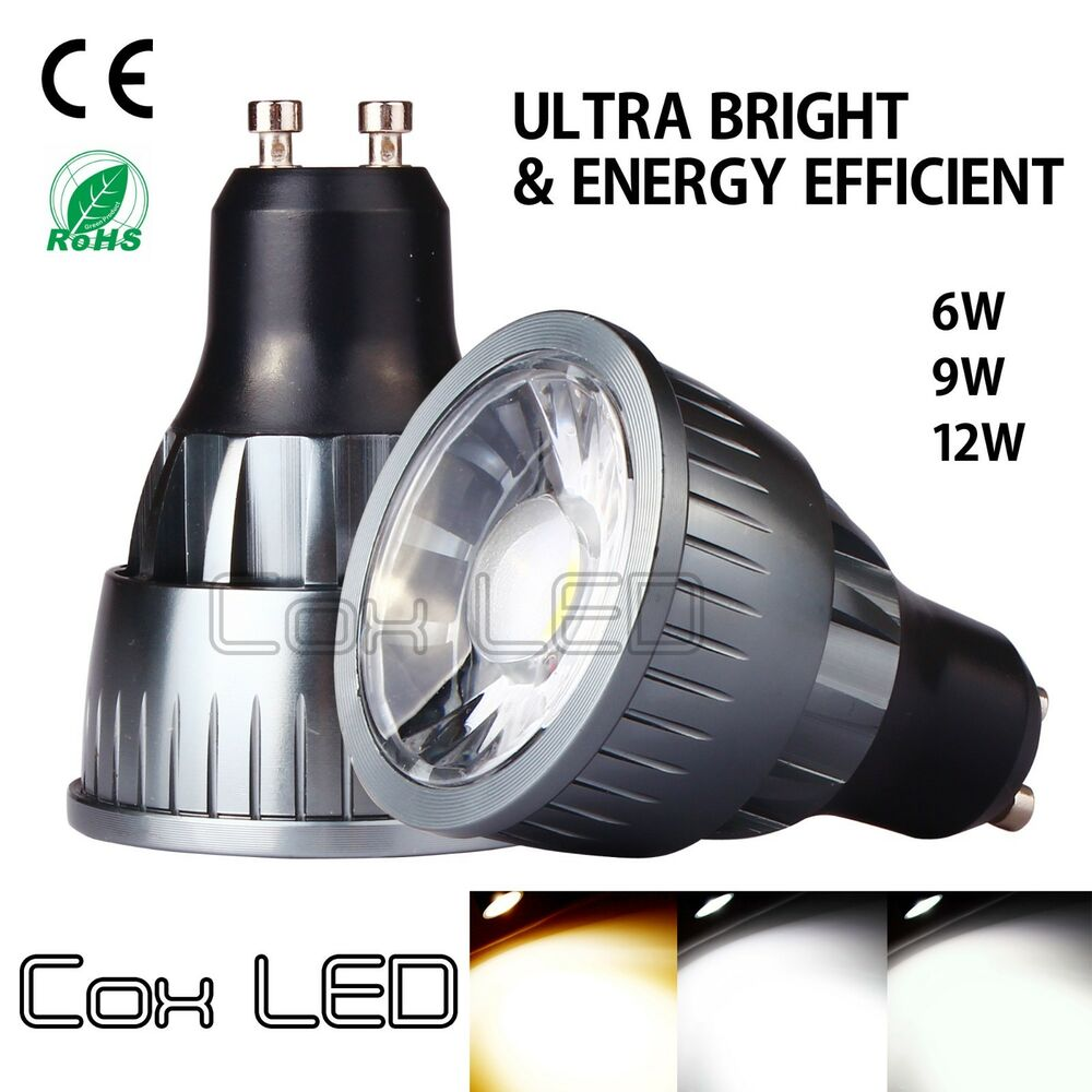 coxled ultra bright dimmable 6w 9w 12w mr16 gu10 cob led spotlight light bulb ebay. Black Bedroom Furniture Sets. Home Design Ideas