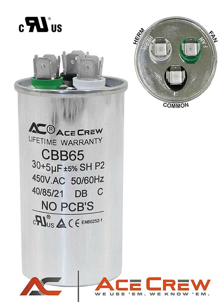 Dual Run Capacitor 30 5 Mfd Uf 450vac Ac Electric Motor