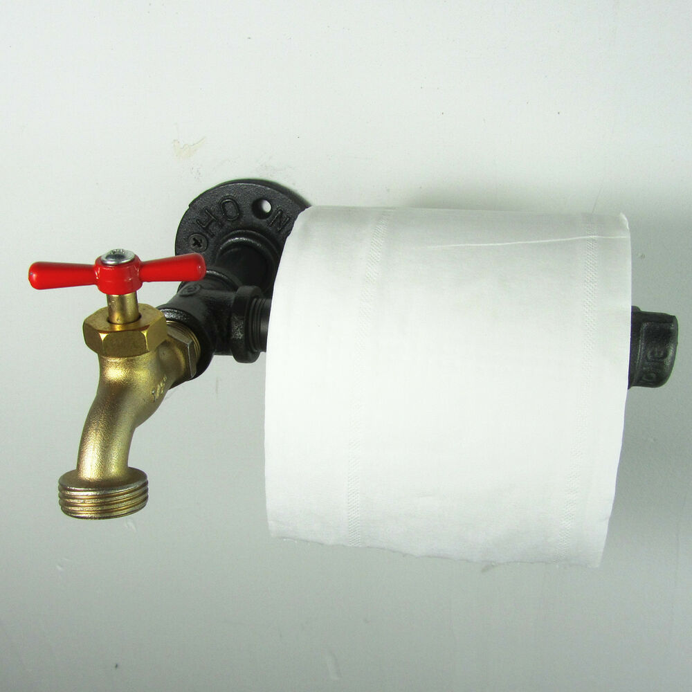 industrial urban retro rustic wall mount iron pipe toilet paper roll holder ebay. Black Bedroom Furniture Sets. Home Design Ideas