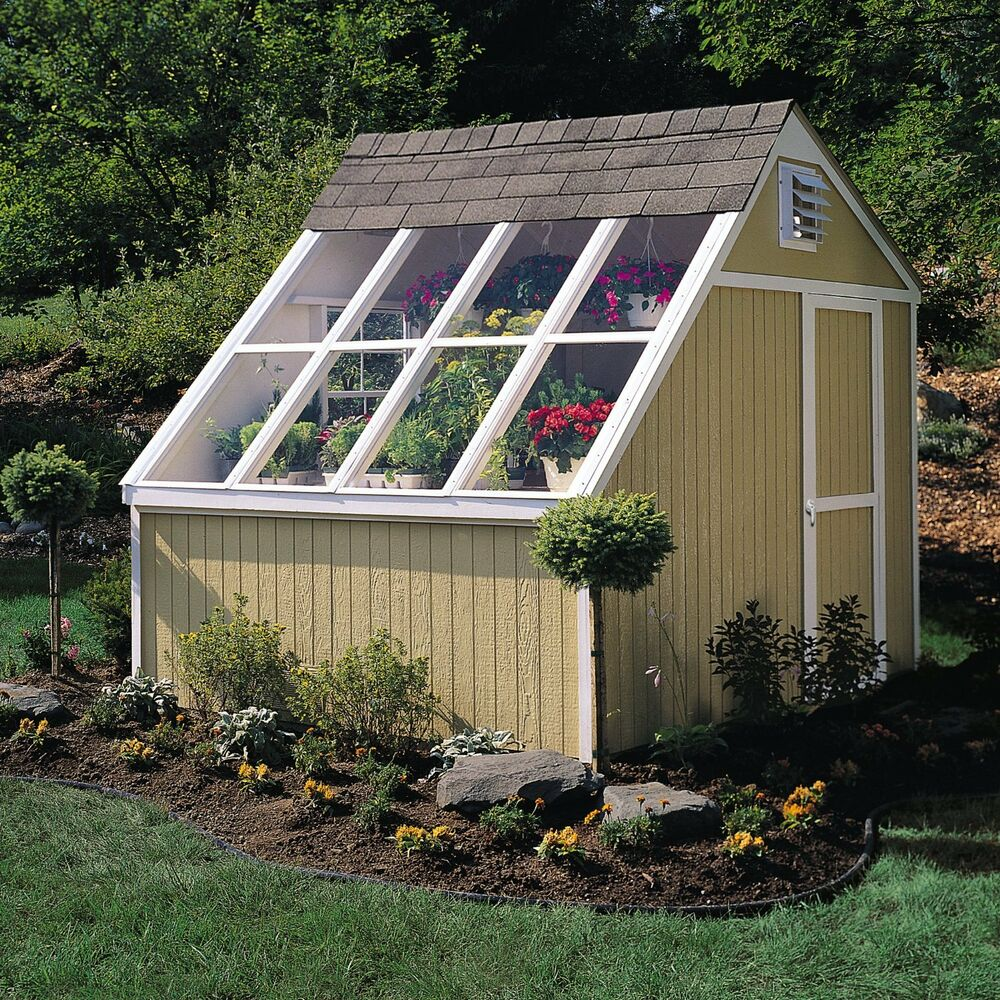 New hq 10 x 8 dual greenhouse storage solar shed garden for Side of the house storage shed