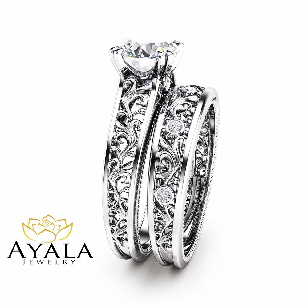 unique diamond bridal set 14k white gold engagement rings