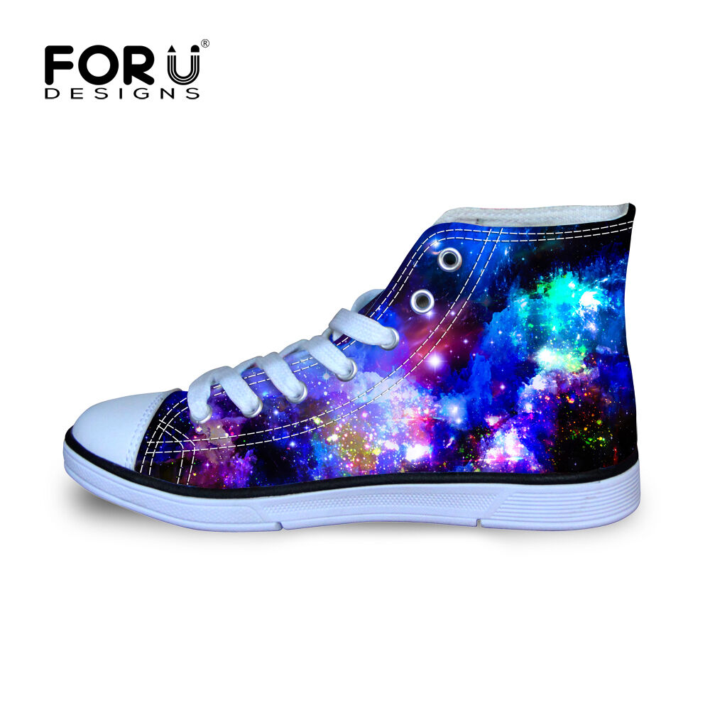 Cool Galaxy Space Kids Girls Canvas Sports Shoes Flat High ...
