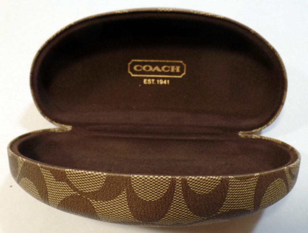 COACH SUNGLASSES EYEGLASSES CASE BROWN HARD CLAMSHELL ...